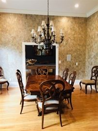 """Here is the Thomasville """"Reva"""" Dining Room Table without the leaves, scaled down to seating for six."""