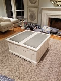 cream distressed wood storage coffee table w. zinc top. $1,000