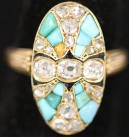 ANTIQUE DIAMOND & PERSIAN TURQUOISE GOLD RING
