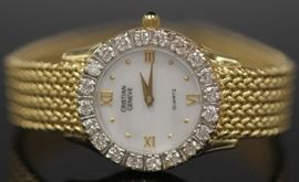 LADY'S CHRISTIAN GENEVE DIAMOND 14KT WRISTWATCH