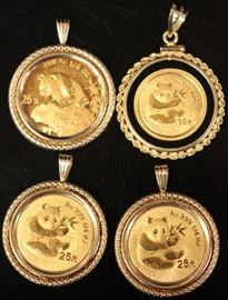 LOT OF (4) 14KT GOLD PENDANTS W/ .999 GOLD COINS