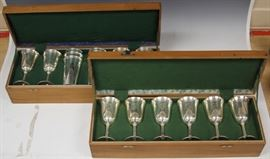 SET OF STERLING SILVER WINE CUPS & GOBLETS