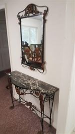Art Nouveau  Marble top table and mirror