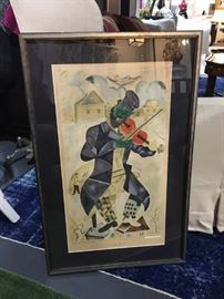 Marc Chagall The Green Violinist New York Graphic Society Art Publishers 35 x 22
