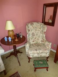 Early Table and wing back chair