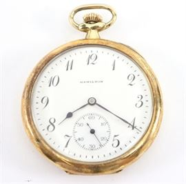 14k Hamilton 914  Pocket Watch - 12 size, 17 j, Adj 3 pos, swing out mvt, DMK, GJS, SW, PS, Hamilton 14k Yellow Gold, OF, SSD w/Arabic numerals.  Serial #1900703.  65.5 grams total weight.  Some case wear, monogram on rear cover with inscription inside.  Winds, sets and running when cataloged.