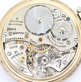 "Ball-Hamilton 999B ""Official RR Standard"" Railroad Watch -  16 size, 21 j, Adj 6 pos, DMK, SW, LS, Keystone ""J Boss"" Ball ""Official Standard"" GF, OF, SSD ""Official RR Standard"" w/Arabic numerals.  Serial #1B9507.  Some case wear.  Winds, sets and running when cataloged."