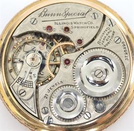 "Illinois ""Bunn Special"" Railroad Watch - 16 size, 21 j, Adj temp & 6 pos, DR, DMK, GJS, SW, LS, Fancy Engraved Star Watch Case Co. GF, OF, DSD w/Arabic numerals.  Serial #3796898.  Some case wear, hairlines and small repair in dial.  Winds, sets and running when cataloged."