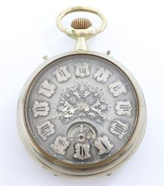 "A Swiss pocket watch with incorporated on demand cylinder music box.   SW, PS, 65 mm ""Silver"" OF, Engraved ""Silver"" dial with visible balance wheel and  applied numerals. Serial #955.  Some case wear.  Winds, and sets roughly but  runs and plays correctly when cataloged."