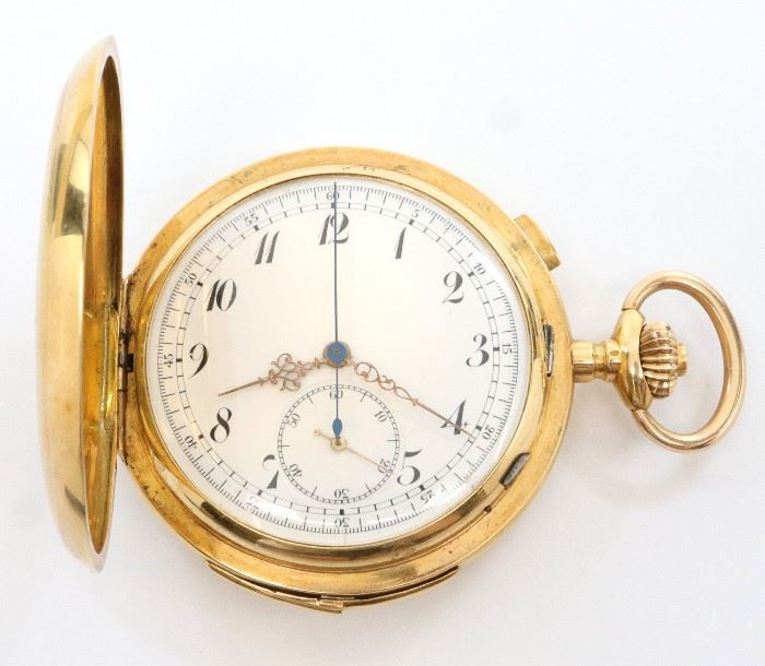 Swiss 18k Gold pocket watch with Chronograph and Minute repeat.  58mm, SW, LS,  Fancy Engraved 18k Yellow Gold, HC, SSD w/Arabic numerals.  Serial # 204028.  124.6 grams total weight.  Some wear, front cover re-monogramed and reinforced from behind with an 1852 American $1/2 Gold coin.  Winds, sets, running and striking correctly when cataloged.