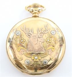 Manistee Watch Co. Pocket Watch -  16 size, 17 j, DMK, SW, LS, Tri color GF case w/Stag's Head, HC, DSD w/Arabic numerals. Serial #0030201.  Some case wear, hairlines in dial.  Winds, sets and running when cataloged.