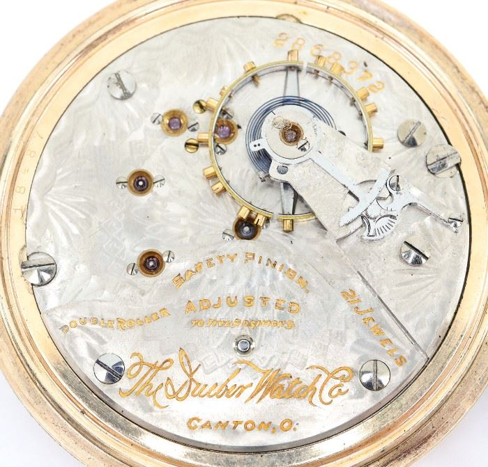 "South Bend ""Studebaker"" pocket watch.  12 size, 21 j, Adj 8 pos, DR, DMK, SW, PS, Illinois 14k White GF, OF, Silvered SSD w/Arabic numerals. Serial #1233094.  Some wear, dial wear. Winds, sets and running when cataloged."