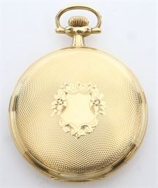 "Swiss Private label pocket watch made for ""H. J. Howe, Syracuse, N.Y."".  Possibly from the Vacheron & Constantin factory.  52 mm, Bridge movement, DMK, KW/SW, LS, Philadelphia 20 yr GF, HC with glass in front cover, SSD w/Arabic numerals.  Serial #S7547.  Some wear, cut front cover w/crystal.  Winds, sets and running when cataloged."