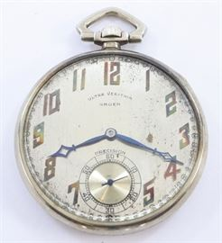 "A Gruen 14k Gold Ultra Verithin ""Precision"" model pocket watch.  40mm, 17 j, Adj temp, SW, PS, 14 k White Gold, OF, Silvered dial with Gold tone Arabic numerals.  Serial #549450.  41.1 grams total weight.  Some wear and dial corrosion, monogrammed rear cover.  Winds, sets and running when cataloged."