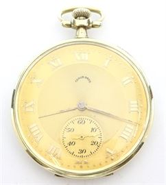Traub Bros, (Longines) 14k Gold Pocket Watch - Traub Bros. Detroit Mich, (Longines) 14k Gold pocket watch. 12 size, 17 j, Adj 3 pos, DMK, SW, PS, Longines 14k Yellow Gold, OF, Gold tone dial w/Roman numerals. Serial #3244313. 48.5 grams total weight.  Some wear, minor denting, monogrammed rear cover, weak hinge on inscribed cuvette.  Winds, sets and running when cataloged.
