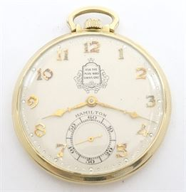 "Hamilton 917 ""Packard"" 14k Gold Pocket Watch -12 size, 17 j, Adj 3 pos, DMK, SW, PS, Hamilton ""Wadsworth"" 14k Yellow Gold, OF, SSD Champagne dial w/Arabic numerals and ""Ask The Man Who Owns One"" Packard logo on dial. Serial #X42231.  48.8 grams total weight.  Minor wear.  Winds, sets and running when cataloged."
