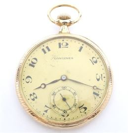 "Longines 14k Gold Pocket Watch - Longines, for ""Guinand Bros. Ashland, MN"" 14k Gold pocket watch. 12 size, 17 j, Adj 5 pos, DMK, SW, PS, Fancy Longines 14k Yellow Gold, OF, Gold tone dial w/Roman numerals. Serial #3019112. 52.3 grams total weight.  Some wear, light dial corrosion.  Winds, sets and running when cataloged."
