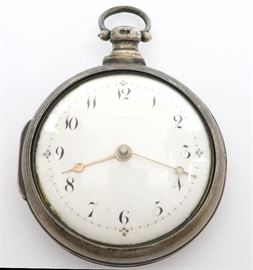 Natt. Olding Silver Pair Case Pocket Watch - An early 19th century Silver pair case pocket watch by Natt. Olding, Wincanton.  53mm, Fusee movement with verge escapement, KW, KS, Silver pair case with hallmarks for Henry Jackson, 1817, Domed porcelain dial w/Arabic numerals. Serial # 970. Minor case wear.  Winds, sets and runs momentarily when cataloged.