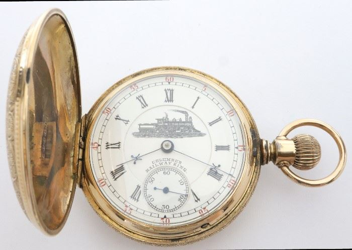 "Columbus Watch Co. ""Railway King"" Pocket Watch - Columbus Watch Co. ""Railway King"" pocket watch.  18 size, 16 j, Adj, Two-tone DMK, marked ""Railway King"" on movement, SW, LS, Fancy engraved BWC Co ""Granger"", GF, HC, DSD w/Roman numerals with Locomotive marked ""Columbus Railway King"".  Serial #224370.  Minor wear, monogrammed front cover.  Winds, sets and running when cataloged."