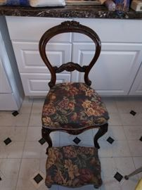 VINTAGE CHAIR WITH OTTOMAN