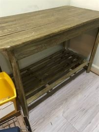 #6	wood side table yellow painted 39x19x26	 $75.00