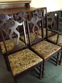 Set of 6 1920's dining chairs