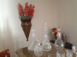 Wall hanging and beautiful cut glass decanters