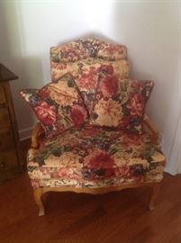 Beautiful floral chair....reds, greens, yellows,