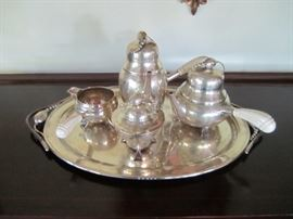 STERLING SILVER TEA SET WITH MATCHING STERLING SILVER TRAY