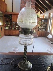 ANTIQUE LAMP SOME DAMAGE ON GLOBE