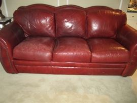 MATCHING LEATHER SOFA AND LOVESEAT