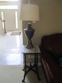 LAMP AND MARBLE TOP END TABLE