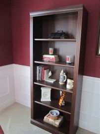 PAIR OF BOOK CASES AND DECOR
