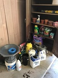 More yard/garden including fertilizers, chemicals, pots, metal watering can, etc.