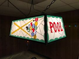 Hanging light for pool table.