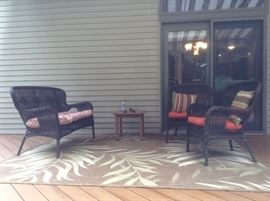 3 piece vinyl wicker patio set and area rug