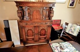 "Highly detailed carved  buffet/sideboard/hutch/ breakfront that can be placed in just about any room for that ""Wow"" piece and serve as storage for dishes, linens, in bedroom for clothes, purses, etc. It looks French to me."