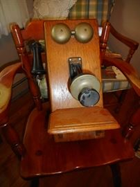 Antique Kellogg Crank Oak Wall Telephone
