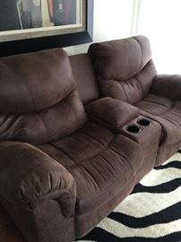 Duel Recliners with storage in middle and 2 cup holder