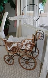 Antique wicker Doll Stroller with fabric & iron trim