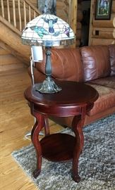 Side Table, Lamp, Rug, Leather couch