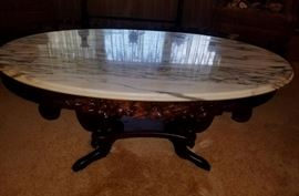Antique mahogany marble-top oval lyre carved coffee table