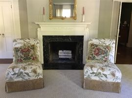 Two armless chairs floral print