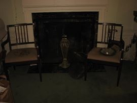 vintage arm chairs, fireplace set