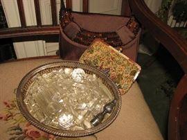chandelier crystals, vintage purses