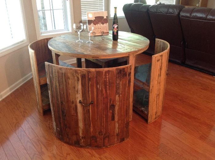 Reclaimed Wood Barrel Table & 4 Chairs