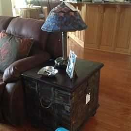 1 of 2 End Tables &  Gorgeous Stained Glass Lamps