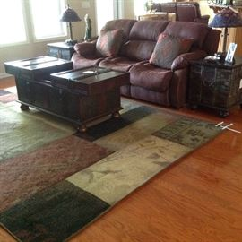 Queen Sleeper Sofa, Gorgeous Trunk/Coffee Table, Two Stained Glass Lamps, & Nice Area Rug