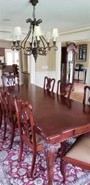 10 seat mahogany dining table, ball and claw feet table and chairs (8 side chairs, 2 arm chairs)