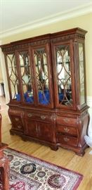 Matching mahogany lighted china cabinet. two sections - top and bottom